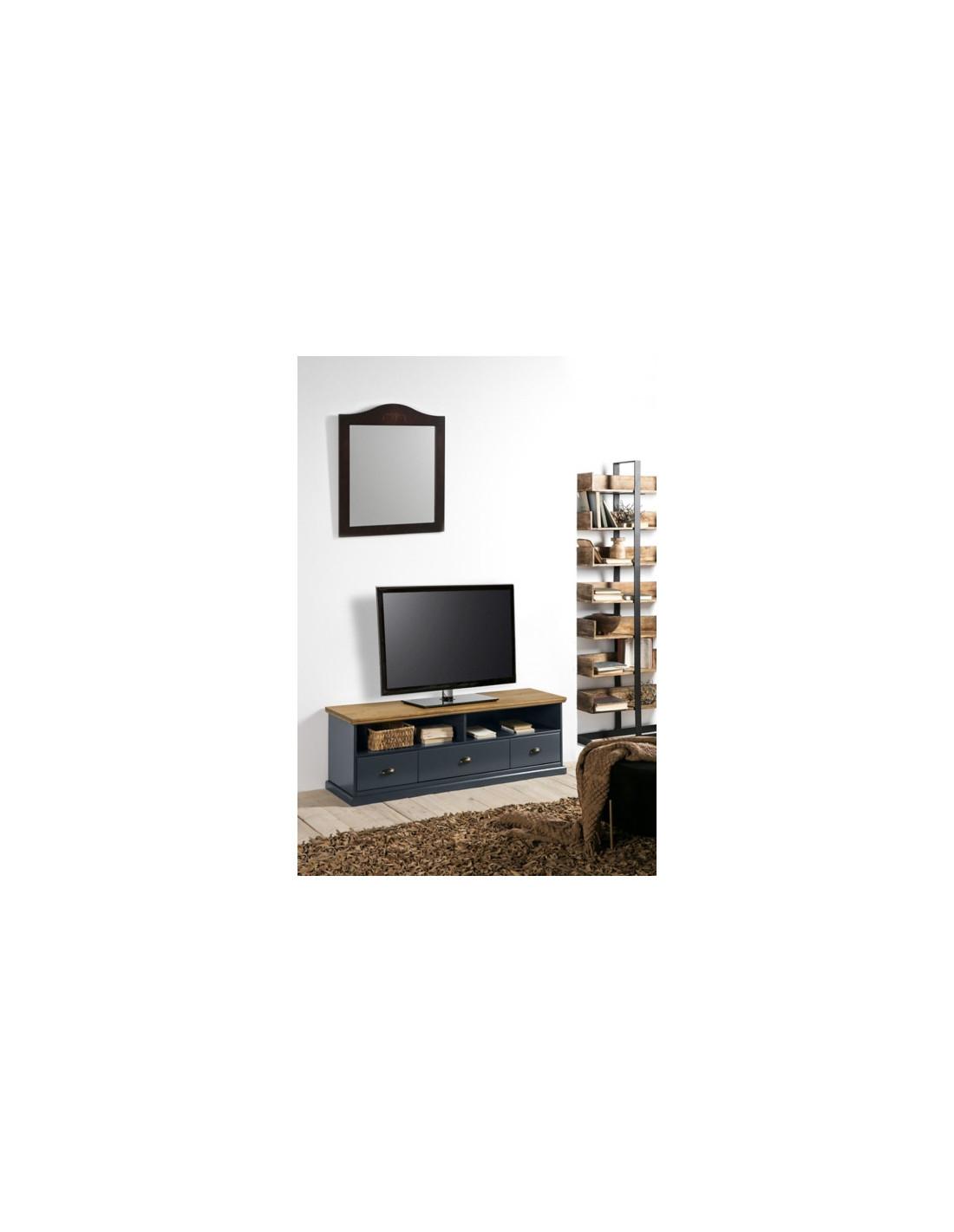 Meuble Tv Alphonse Gris Anthracite/ Pin Massif - Meuble Tv But tout Meuble Tv Alphonse But