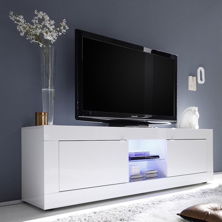 Meuble Tv Lumineux Laqué Blanc Design Focus pour Meuble Tv Mural Design Italien