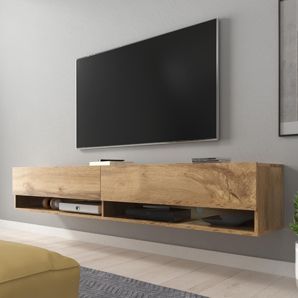 Meuble Tv / Meuble De Salon - Wander - 180 Cm - Effet Chêne tout Meuble Tv 300 Cm Conforama