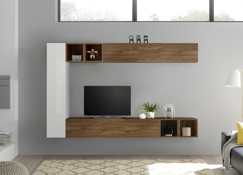 Meuble Tv Mural Blanc Et Bois Pour Salon avec Meuble Tv Mural Design Italien