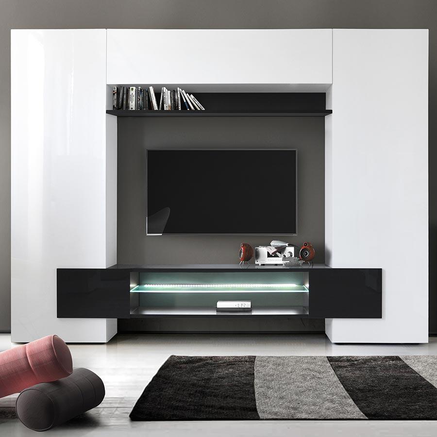 Meuble Tv Mural Laqué Blanc Et Noir Eros 3 concernant Meuble Tv Mural Design Italien