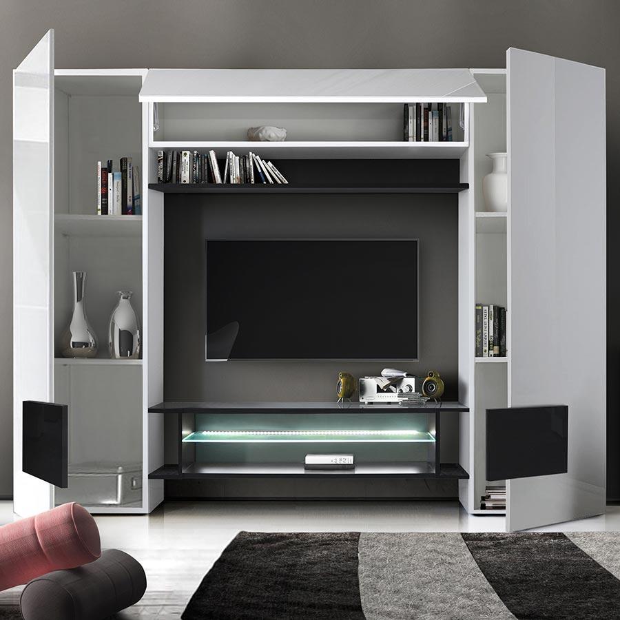 Meuble Tv Mural Laqué Blanc Et Noir Eros 3 tout Meuble Tv Mural Design Italien