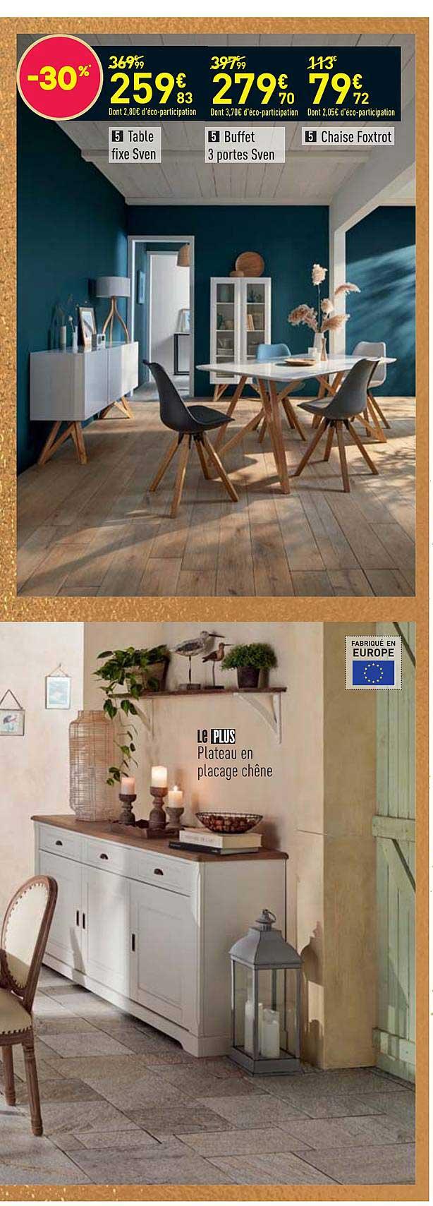 Offre Table Rectangle Maxwell, Buffet 4 Portes 1 Tiroir destiné Salle À Manger Cottage Conforama