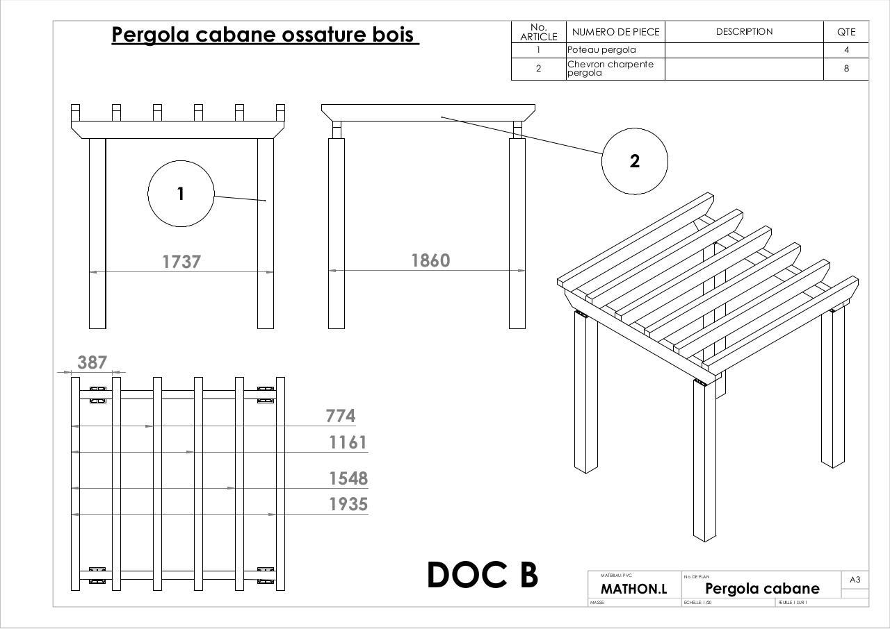 Pergola Cabane Ossature Bois Doc B Par PcmathludMathlud avec Plan Cabane En Bois Pdf