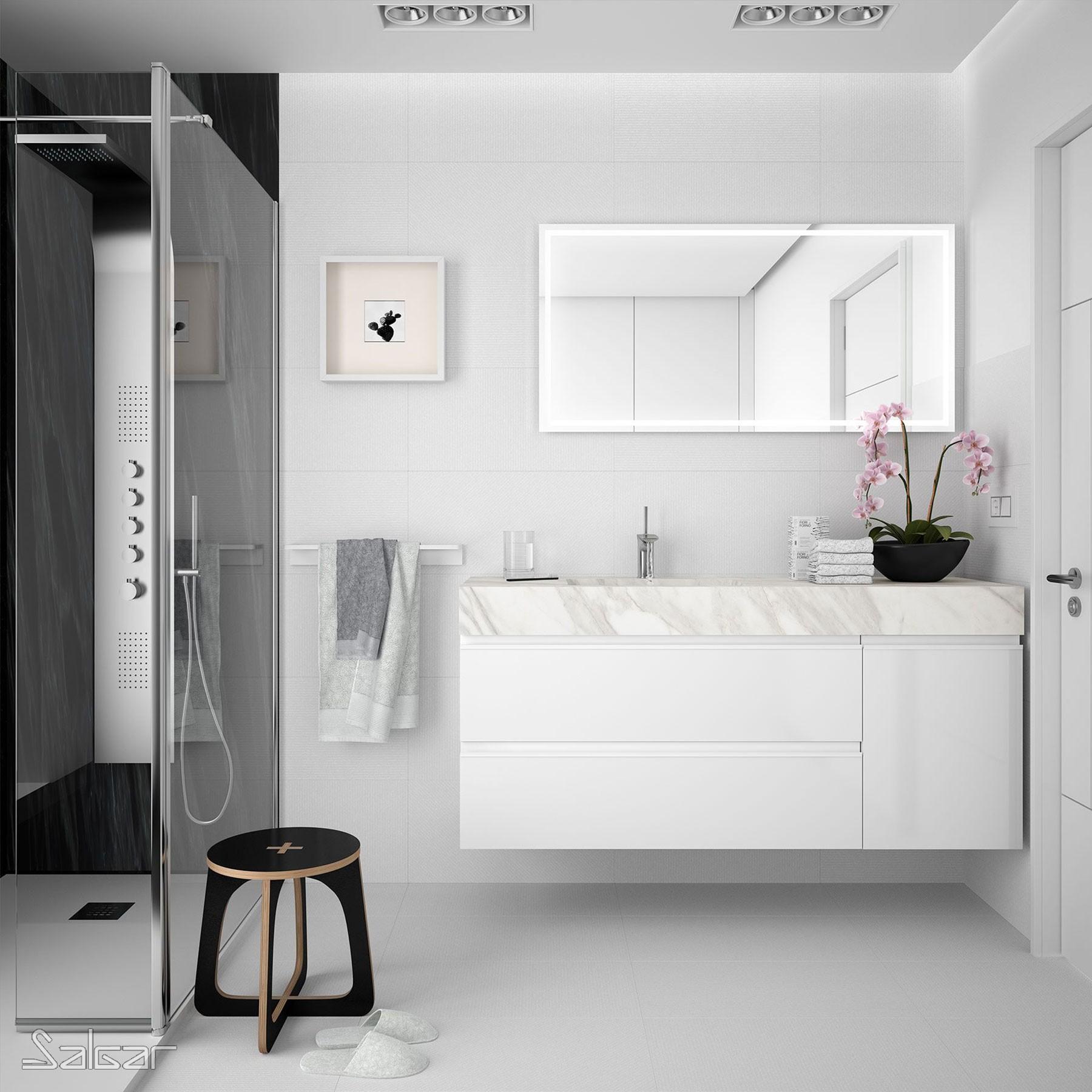 Plan De Toilette Compakt 51 Marbre Blanc De 700 À 800 Mm Avec Grande Vasque  Intégrée 700 - 800 X 510 X 120 Mm avec Toilette Lavabo Intégré Canada