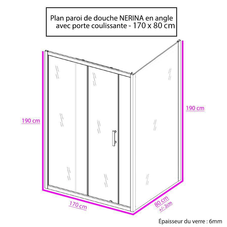 Porte De Douche D'Angle Avec Paroi Coulissante Nerina - 170X80 Cm pour Paroi De Douche D'Angle Hauteur 170 Cm