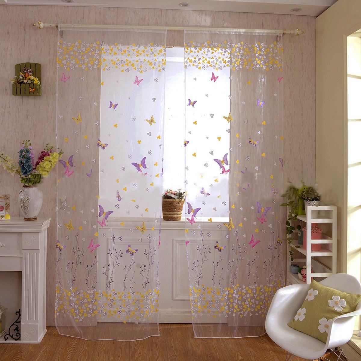 Rideau Fenêtre Porte Papillon Voilage Fleur Fil Décor Maison serapportantà Wish Rideaux Occultant