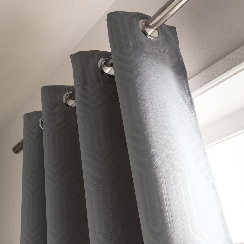 Rideau Occultant, Ikyo Noir L.140 X H.270 Cm | Rideau avec Rideaux Toile De Jouy Leroy Merlin