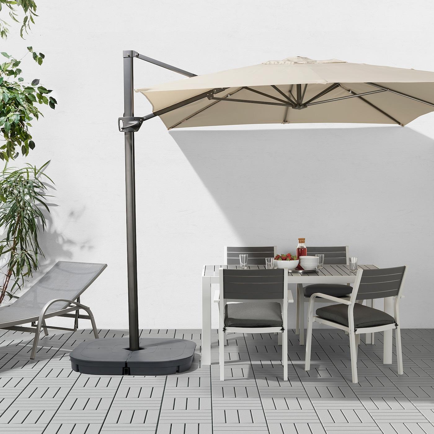 Seglarö Parasol Déporté - Beige/Inclinable 330X240 Cm intérieur Toile Pour Tonnelle 3X3 Ikea