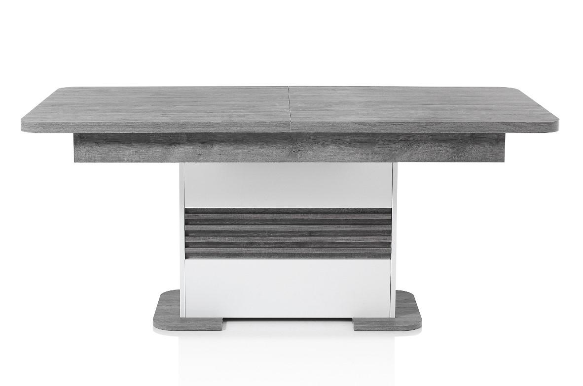 Table L180 + All Vertigo Blanc/Chêne Gris Pas Cher - Table concernant Salle À Manger Vertigo
