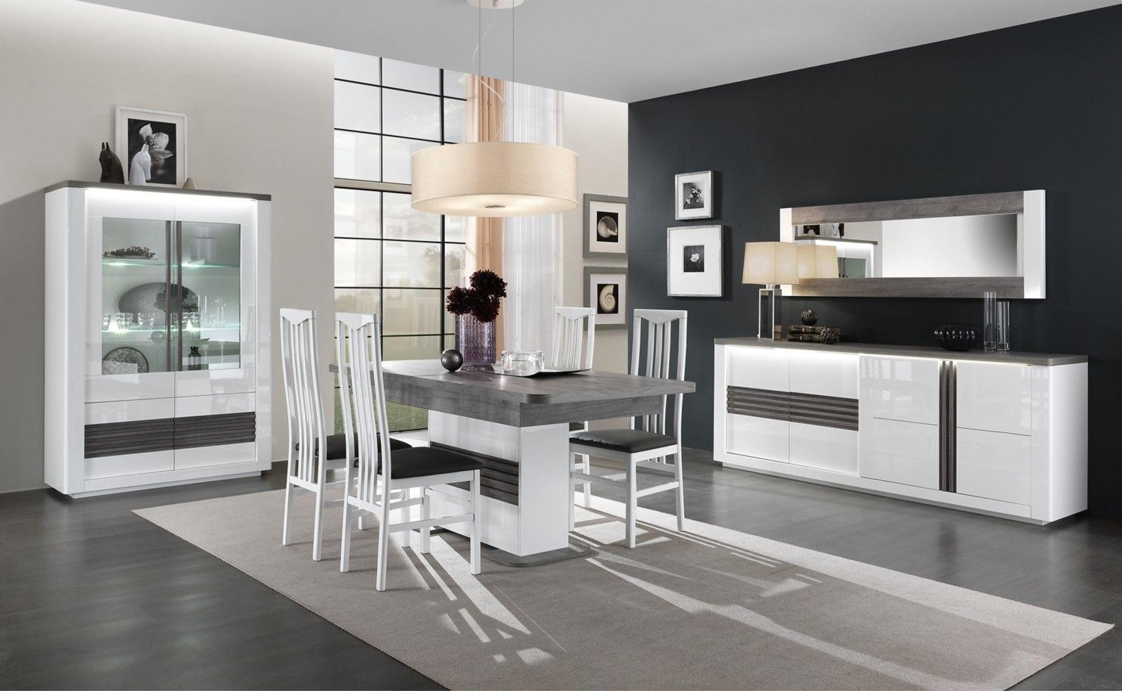Table L180 + All Vertigo Blanc/Chêne Gris Pas Cher - Table intérieur Salle À Manger Vertigo