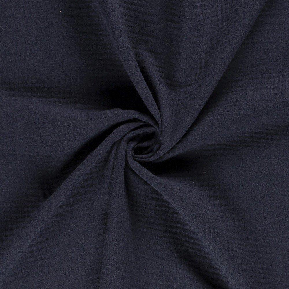 Tissu Triple Gaze De Coton Bleu Marine - Par 10 Cm serapportantà Triple Gaze De Coton Grande Largeur