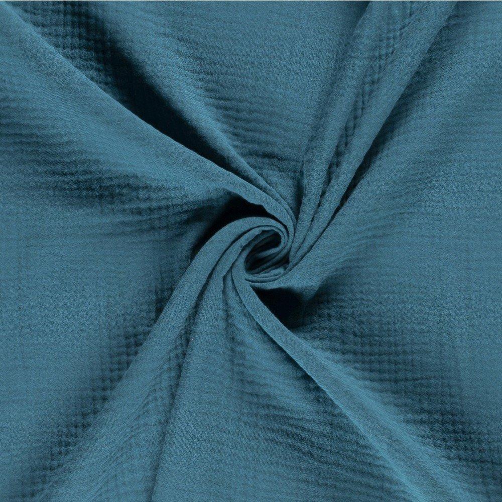 Tissu Triple Gaze De Coton Bleu Pétrole - Par 10 Cm dedans Triple Gaze De Coton Grande Largeur