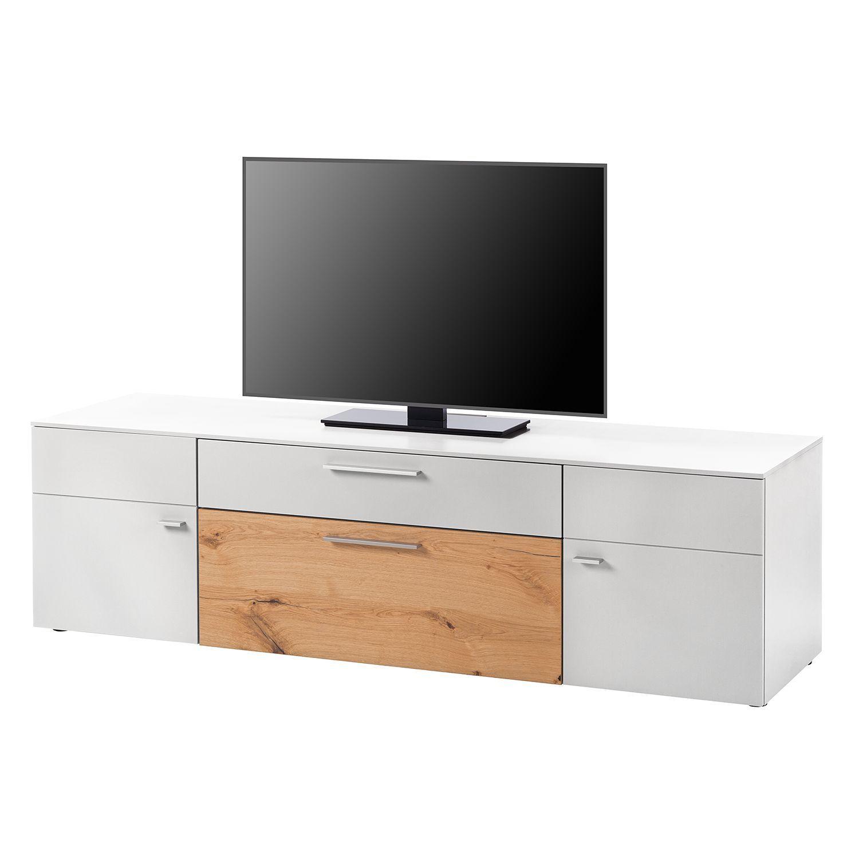 Tv-Lowboard Anzio I - Matt Weiß / Balkeneiche, Netfurn By destiné Meuble Tv 300 Cm Conforama