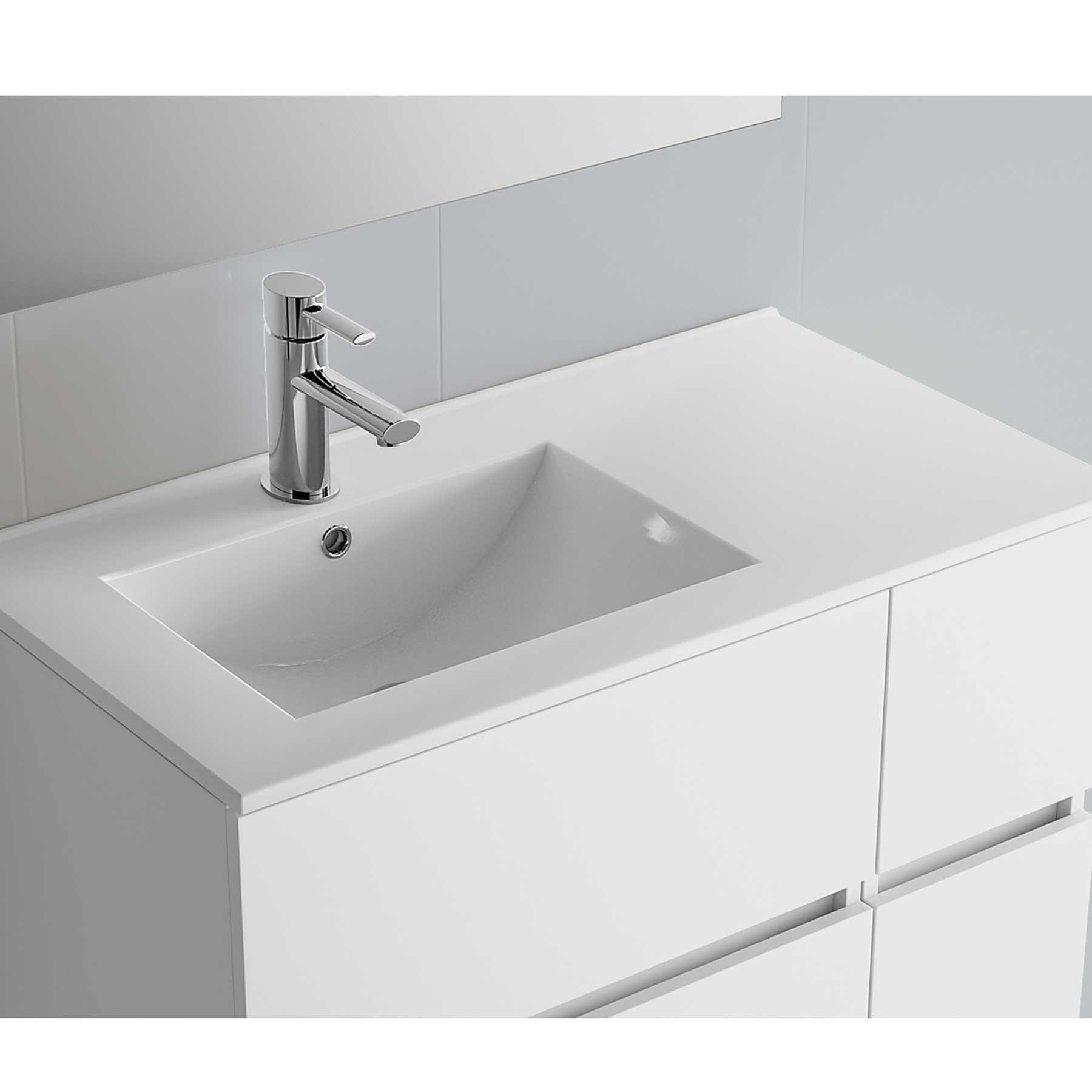 Vasque Iberia 855 Coquette À Droite En Porcelaine Blanche 855 X 20 X 460 Mm dedans Toilette Lavabo Intégré Canada